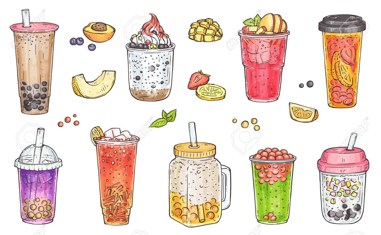 Bubble tea, iced coffee, fruit smoothie and other sweet drinks - hand drawn isolated set of colorful beverages with different toppings, vector illustration